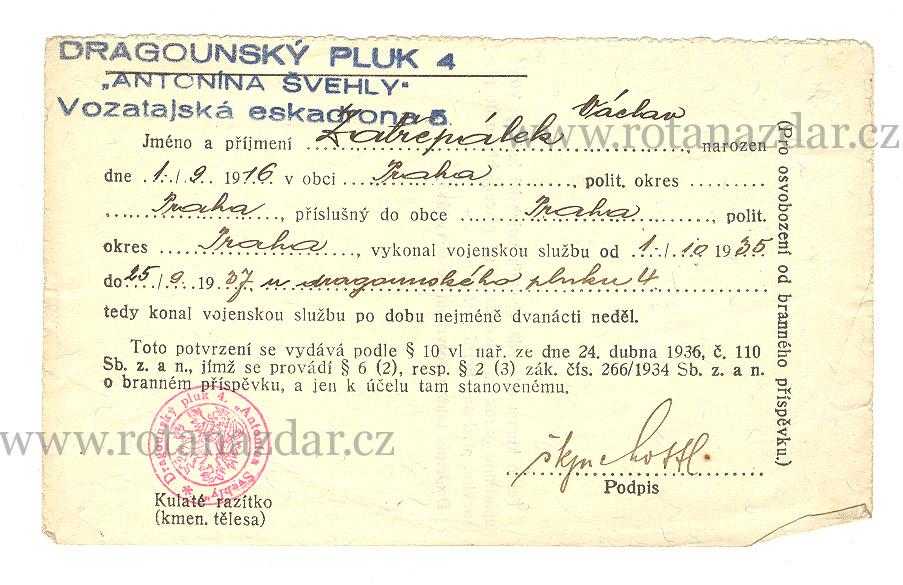 exponát_týdne_potvrzení_dragoun_pluk